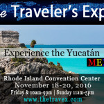 A postcard mailer graphic about The Traveler's Expo and virtual experiences in the Yucatan
