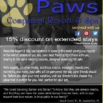 An e-blast about Paws Companion Resort and 15% discount on extended stays.