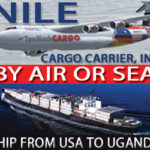 Nile Cargo Carrier banner advertisement with ship by air or sea information