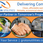 A graphic designed for Groton Utilities and being a partner in tomorrow's progress.