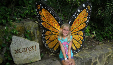 Maia Healy at XCaret as a true butterfly